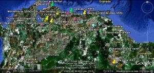 Mapa de centros votivos na Venezuela