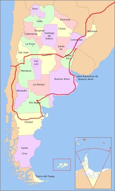 Rota da Expedição Votiva Argentina, 2010-11